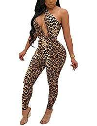 7005598c55c4 Womens Sexy Leopard Jumpsuits Sleeveless Bodycon Backless Rompers Party  Clubwear