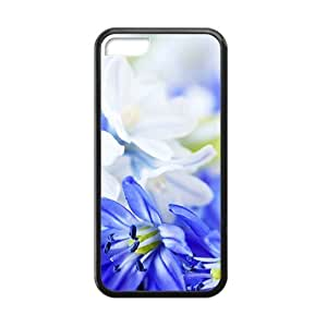 Blue Flower Elegent Black Phone Case for Iphone 5C