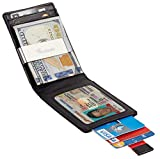 Travelambo Mens RFID Blocking Front Pocket Minimalist Slim Wallet With Pull Tab Money Clip (black)