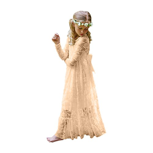 Fancy Lace Flower Girl Dress Boho Rustic First Communion Gowns(Size 6,Champagne) -