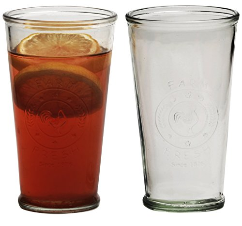 circleware ranch rooster glass drinking glasses set set of 6 16 ounce water juice cups. Black Bedroom Furniture Sets. Home Design Ideas