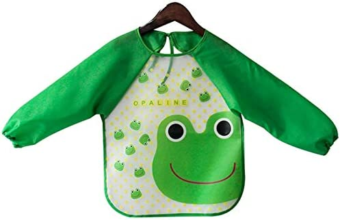 Cobeky 4 Packs Waterproof Childrens Art Smock Kids Painting Aprons Long Sleeve Smock for Baby Eged 1-4 Years Old