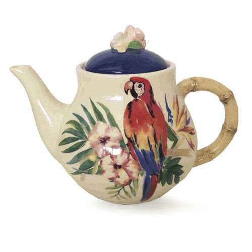 Burton and Burton 9732322 Tropical Island Parrot Ceramic Teapot, - Ceramic Teapot Burton