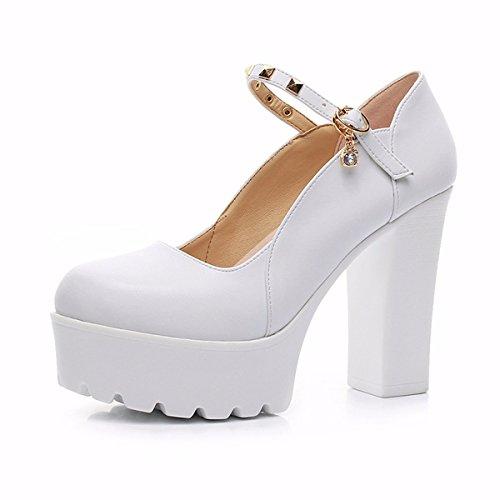 GTVERNH Mujer Zapatos/Gruesa Impermeable Zapatos De Mujer De Fondo Grueso Superficial De Boca 11Ccm Zapatos De Tacon Alto Hebillas. Thirty-four