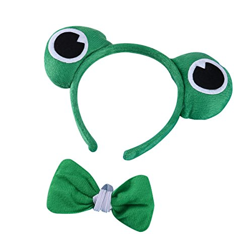 LUOEM 2pcs Children Costume Dress up Set Role Play Frog Headband Bow Tie Costume Pack