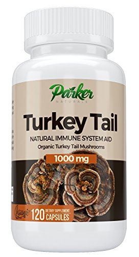 Premium Organic Turkey Tail Mushroom Capsules by Parker Naturals Supports Immune System Health. Natures Original Superfood. 120 Capsules