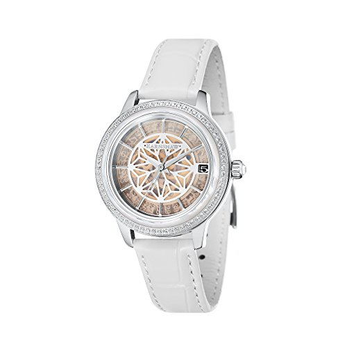 Thomas Earnshaw Women's 'LADY KEW' Automatic Stainless Steel and Leather Dress Watch, Color:White (Model: ES-8064-04)