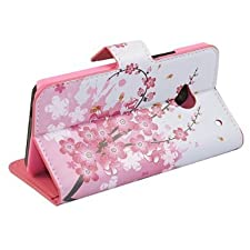 (TRAIT) Pink Flower PU Leather Wallet Cases Protective Skin Protector Covers for HTC One M7 Flip Case Folio Cover Stand Holder with Card Port