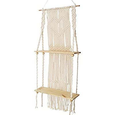 KINO Boho Style Floating Wall Mount Shelving Macrame Rope Woven Double Layers Wood Shelf Tapestry Tassel Wall Hanging Art Background Home Decor Handmade Craft Bookshelf - Size: 50 x 110cm The shelf is suitable for small plants, magazines and small articles,etc. Do not wash. - wall-shelves, living-room-furniture, living-room - 41eMmiKXGLL. SS400  -