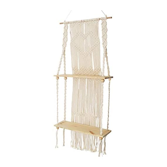 Boho Style Floating Wall Mount Shelving Macrame Rope Woven Double Layers Wood Shelf Tapestry Tassel Wall Hanging Art Background Home Decor Handmade Craft Bookshelf - Size: 50 x 110cm The shelf is suitable for small plants, magazines and small articles,etc. Do not wash. - wall-shelves, living-room-furniture, living-room - 41eMmiKXGLL. SS570  -