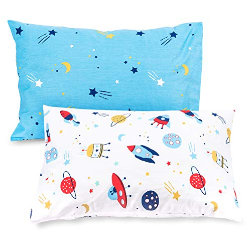 TILLYOU Cotton Collection Breathable Toddler Pillowcases Set of 2 Machine Washable & Super Soft, 14×20 – Fits Pillows…