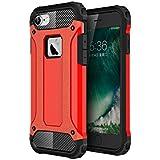 iPhone 6s / 6 ケース ハード ハイブリッド TPU + ポリカーボネート 二重構造 耐衝撃 防塵フタ付き 軽量 薄型 (レッド)