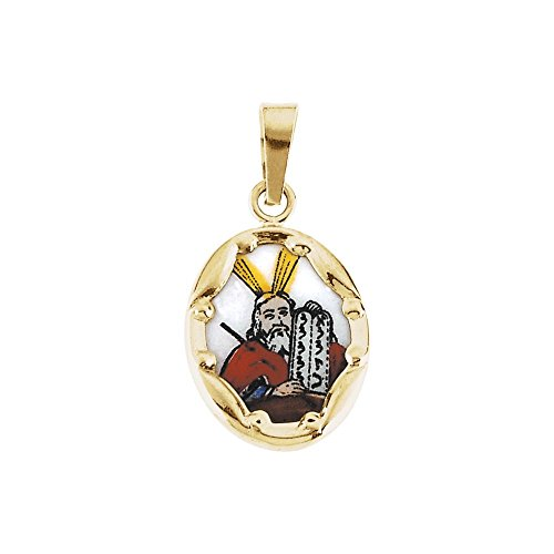 14K Yellow 13x10mm Moses Hand-Painted Porcelain Medal -