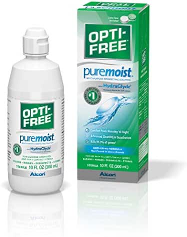 Opti-Free Puremoist Multi-Purpose Disinfecting Solution with Lens Case, 10-Ounces (Packaging May Vary)