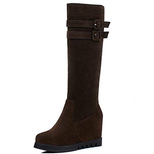 Boots Fashion Women Decor High Strap H Knee Brown Buckle High Wedge Hidden RAZAMAZA avd5wqZnSv