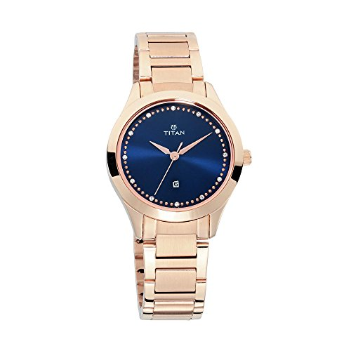 Titan Sparkle Womens Quartz Analog Watch - Gold Metal Band - Navy Face with Swarovski Crystals ()