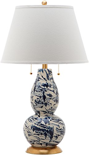 Safavieh Lighting Collection Navy and White Color Swirls Glass 28-inch Table (Marble Glass Table Lamp)