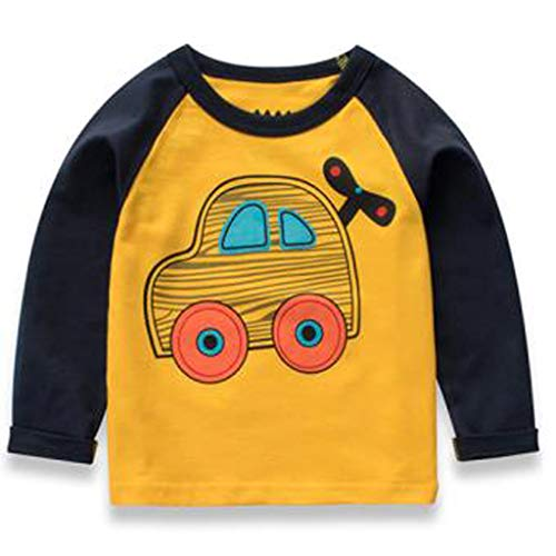 Baby Boys' T-Shirts,Crytech Toddler Kids Long Sleeve Organic Crew Neck Cartoon Car Dinosaur Bear Tiger Animal Pattern Graphic Tee Shirt Autumn Winter Tops Clothes 1T-7T (1-2 Years, Black)