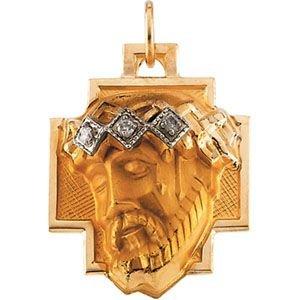 14 Carats Tête de Jésus Croix pendentif couronne diamant brut 18,5 x 16,5 mm-JewelryWeb
