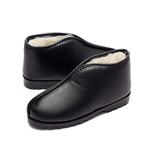 44 Jia Pantofole Borsa Black Spesso Pelle Donna Cotone E Con In Invernali Antiscivolo black Antiscivolo 38 Uomo Hong Da Fondo TT8xrf
