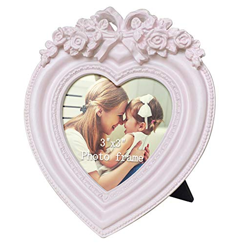 Amazing Roo Picture Frames 3x3 Pink Heart Shaped Tabletop Photo Frame Gift for Mom, Grandma Gift, Friendship Gifts