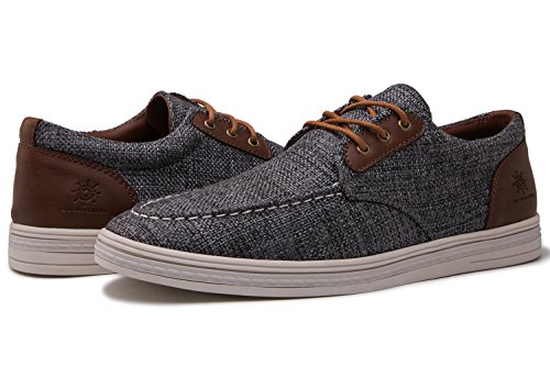 - GLOBALWIN Mens 1803 Dark Grey Fashion Casual Loafers Lace Up Boat Shoes Size 11