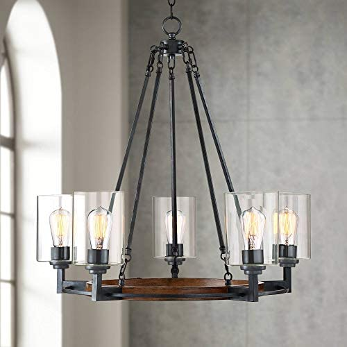Garamond Bronze Wood Wagon Wheel Chandelier 26 3 4 Wide Rustic Farmhouse Clear Glass 5-Light Fixture for Dining Room House Foyer Kitchen Island Entryway Bedroom Living Room – Franklin Iron Works