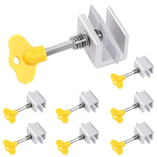 Window Locks, 8 Pack Aluminum Sliding Window Locks Security, Adjustable Sliding Door Frame Security Lock with Keys