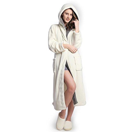 Hooded Women's Cream Color Soft Spa Long Kimono Bathrobe with Grey Shawl Collar for Comfy Sleepwear (M)