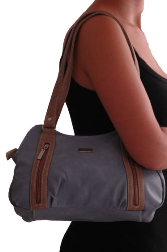 HandBag Bag Ladies Diana Faux Leather Grey Tote EyeCatch ShoulderBag wnfqS10xx7