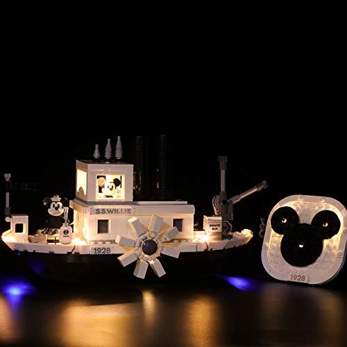 (RAVPump LED Lighting Kit for Disney Steamboat Willie Building Blocks Model - LED Light Set Compatible with Lego 21317 ( Lego Set not Included ))
