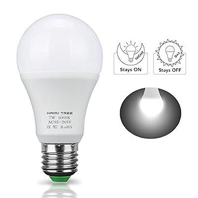 Dusk to Dawn Light Bulb,HAIMI TREE 7W E26/E27 Smart Dusk to Dawn LED Bulb with Auto on/off Indoor /Outdoor LED Sensor Lighting Lamp for Porch Hallway Patio Garage