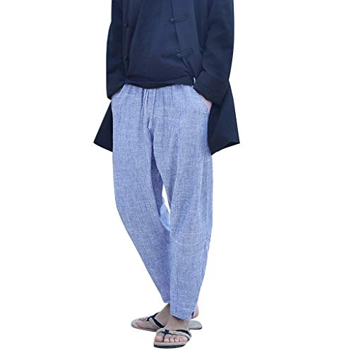 iHHAPY Men's Drawstring Long Pants Summer Simple and Fashionable Cotton and Linen Trousers Pure Color Pocket Blue