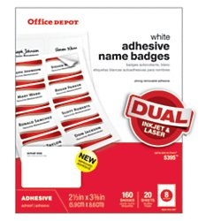Office Depot Name Badge Labels 2 1 3in X 3