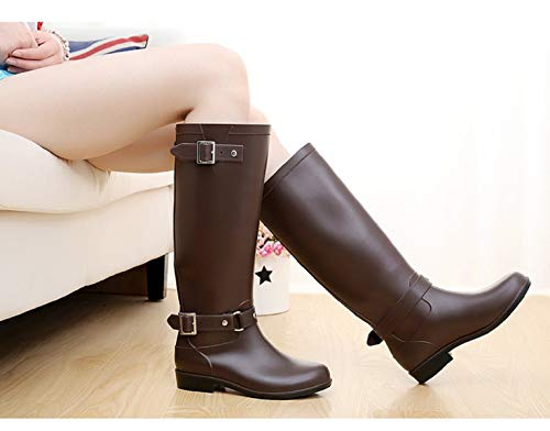 Lluvia Marrón Cremallera Aonegold Altas Agua Goma Impermeables Zapato Hebilla Wellington Festival Botas Y Ajustable Mujer De wvxIqfZv