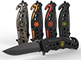 3-in-1 Police First Responders Tactical Knife for EMT, Police, Fire, Rescue and Military with Glass Breaker, Seatbelt Cutter and Steel...