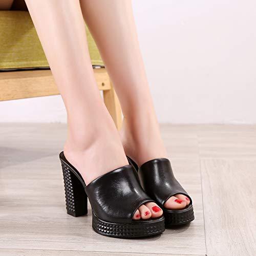 Appropriato Col 11Cm Parola Pantofole Estate Black 37 Scarpe Le Scarpe da Una Giacche Spesso Moda Pelle KPHY Tacco Tacchi Di donna I w0gX8qwxF
