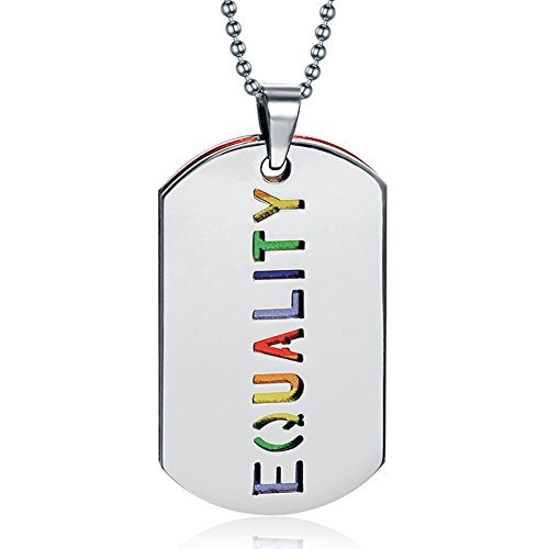 2PCS Equality Pride Rainbow Dog Tag LGBT Jewelry - Stainless Steel Gay and Lesbian Pride Pendant Necklace -