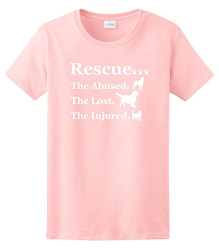 Rescue The Abused The Lost The Injured Ladies T-Shirt XXX-Large Light (Lost Womens Pink T-shirt)