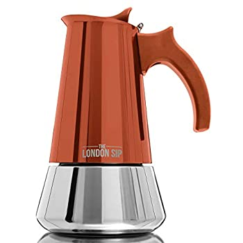 Stainless Steel Induction Stovetop Espresso Maker - Make Cafe Quality Italian Style Coffee at Home with This Premium Moka Pot in Modern Chrome, by The London Sip Company.… (Copper, 6 Cup)