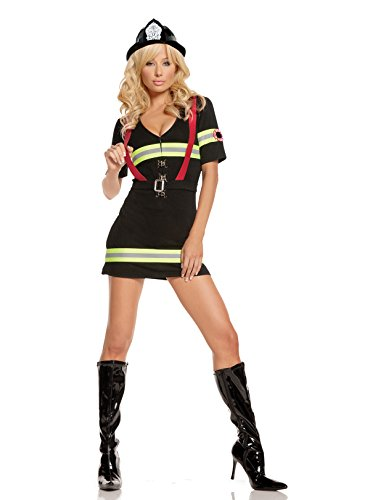 Blazing Hot Female Fire Fighter Halloween Roleplay Costume 2pc Set (M, -