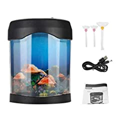 Name:Fish tank        Material: ABS plastic       Color: As Pictures Shown       Rated Voltage: 5 # AA 1.5V*3 or Transformer: (Output dc4.5v, 500mA)       Rated Power: <1.2W       Battery: 3*AA Battery(Not included)       Size(L*W*H): ...
