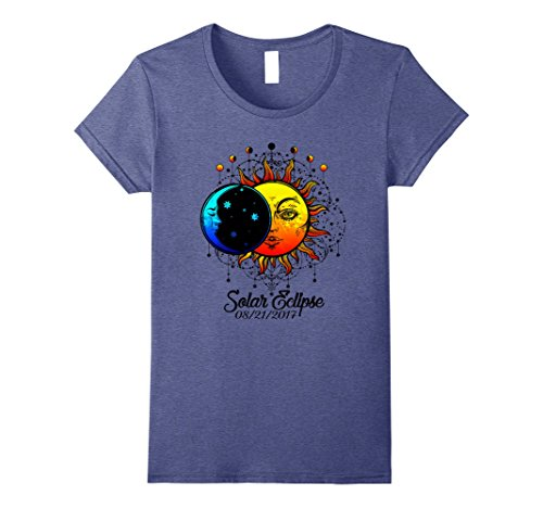 Womens Total Solar Eclipse 2017  Sun And Moon Ancient Design Large Heather Blue