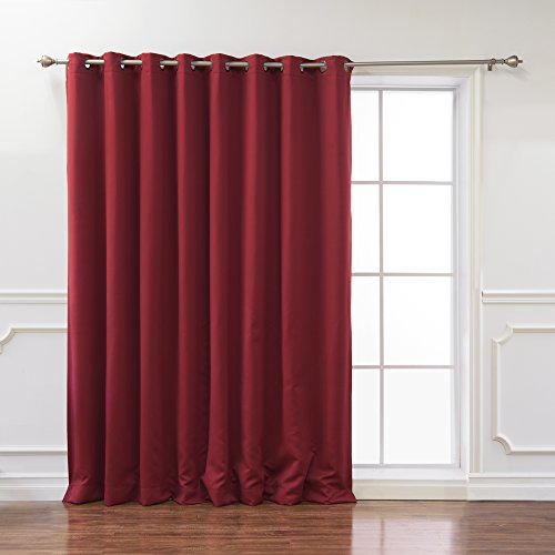 - Best Home Fashion Wide Width Thermal Insulated Blackout Curtain - Antique Bronze Grommet Top - Cardinal Red - 100