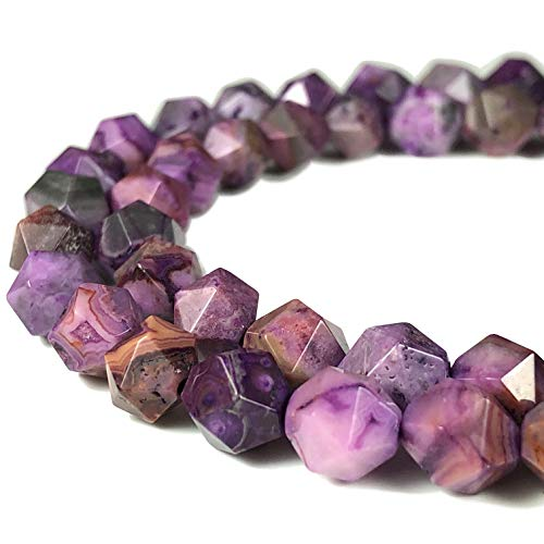 ([ABCgems] Mexican Purple Crazy Lace Agate 8mm Precision-Star-Cut Beads for Beading & Jewlery)