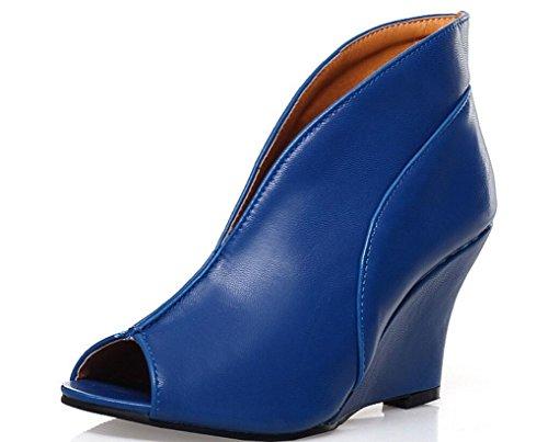SHFANG Señoras Sandalias Poe Pez Boca Zapatos más altos Protector solar Participa en una fiesta Shopping Catwalk Three Colors 8cm Blue