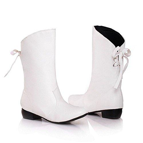 Bottines Mi Western Automne Femmes Lacets Bottes white Arriere RAZAMAZA RwaApqOx
