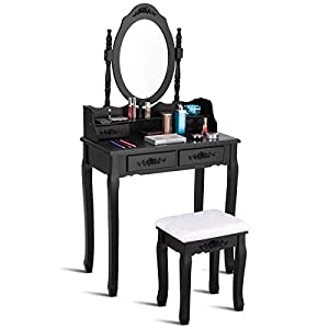 WATERJOY Vanity Set, Dressing Makeup Vanity Table Set with Round Mirror & Cushioned Stool for Bathroom, Bedroom, 29.5″ x 16.0″