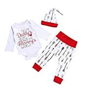 YJM Baby Girl Romper Bodysuit+Pants Hairband Clothes Outfits Set (6-12M, Red)