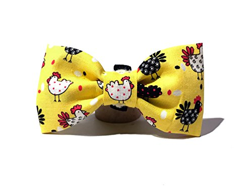 Very Vintage Design Dog Cat Collar Bow Tie Yellow Black Chicken Run Bird Hand Crafted Collection Organic Cotton Personalized Adjustable Pet Bowtie by Very Vintage